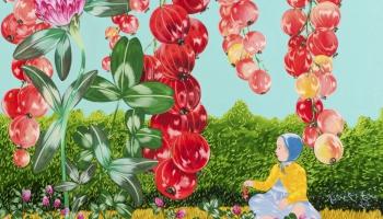 Kristīnes Luīzes Avotiņas izteiksmīgas gleznas Cēsīs, ieraugot pasauli meitiņas acīm