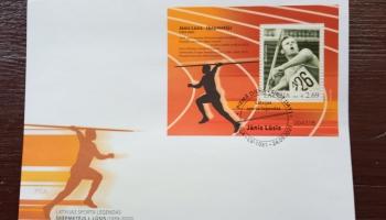Leģendārajam šķēpmetējam Jānim Lūsim veltīta pastmarka