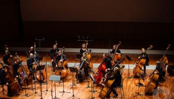 """Koncerts """"16 kontrabasi un Alise Brīnumzemē"""" Lielajā ģildē"""