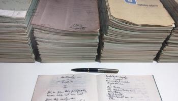 Ojāra Vācieša dzejoļu rokrakstu izstāde