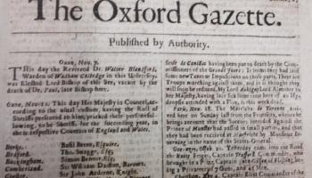 """7. novembris. Sāk iznākt laikraksts """"The Oxford Gazette"""""""