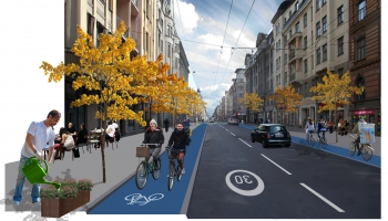 Atbalsta Čaka ielas velojoslu eksperimenta turpināšanu Rīgā