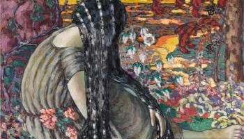 Konrāds Megi. Kompozīcija (Meditācija. Sieviete ainavā). Ap 1915.-1916. gadu