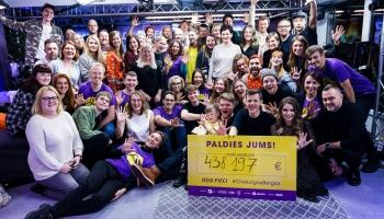 """Labdarības maratonā """"Dod pieci!"""" saziedota rekordliela summa - 438 197 eiro!"""