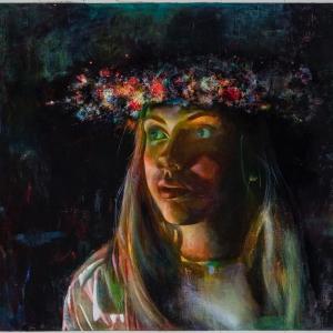 Gleznotāja un modes māksliniece Gita Šmite, arī lina pirts mētelīšu autore