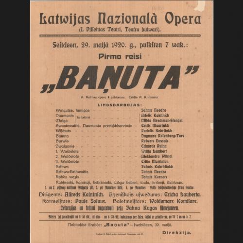 """Notiks operas """"Baņuta"""" simtgadei veltīta konference"""