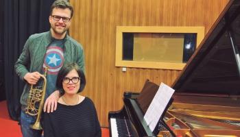 """Imants Zemzaris - """"Agri no rīta"""". Jānis Porietis (trompete) un Ieva Dzērve (klavieres)."""