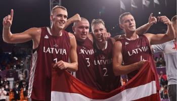 Latvijas 3x3 basketbola izlasei - zelts Tokijā! Viesos: Ingmārs Jurisons