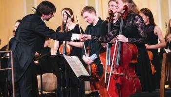 Marks Viļenskis, JVLMA simfoniskais orķestris un Kaspars Ādamsons JVLMA Lielajā zālē