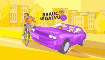 """Kampaņā """"Brauc ar galvu"""" CSDD uzrunā velosipēdistus un citus ceļu satiksmes dalībniekus"""
