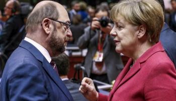 Merkele un Šulcs cīņā par kanclera amatu izmanto Trampu, lai celtu savu popularitāti