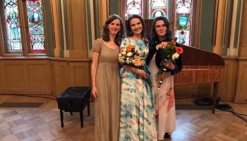 """Monta Martinsone, Maija Kļaviņa un Ģertrūde Jerjomenko koncertā """"Mocarta kamermūzika"""""""